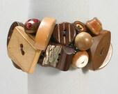 Chunky Wood Button Bracelet