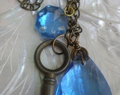 French Blues 19th Century Antique French Key Pendant Charm Steampunk OOAK Artisan Crafted Vintage Rare