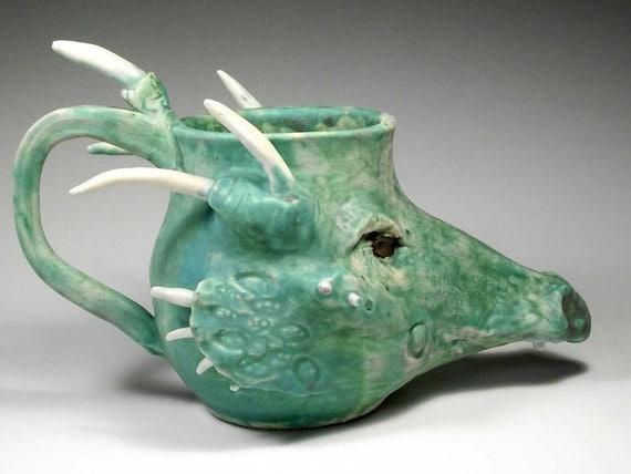 Green Dragon Face Mug  - Sculpted Fantasy Stein