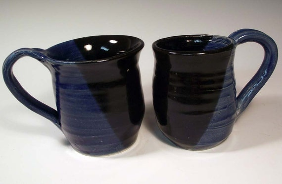 Pair Pottery Coffee Mugs in Black and Cobalt Blue