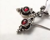 Garnet Drop Earrings Ornate Silver Dark Red Cabochon