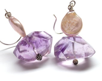 Chunky Amethyst Earrings with Coin Pearls
