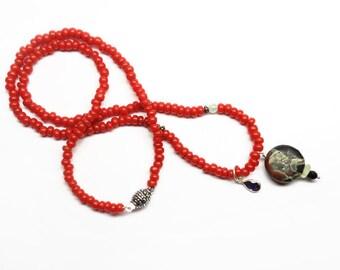 Jasper Pendant with Quartz ,Onyx and Iolite Teardrop on Vintage Red Glass Beads