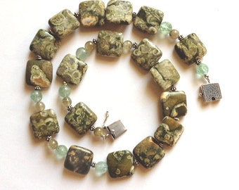 Necklace of Rhyolites, Aquamarines, Labradorites Square Stones Square Clasp Moss Green Lime Green