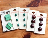 Vintage Button Collection Streamline and Woodcraft Green, Brown, Large, Small, Medium Size