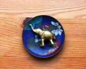 Lovely little cloisonne trinket dish deep sea blue enamel Chinese Asian Design