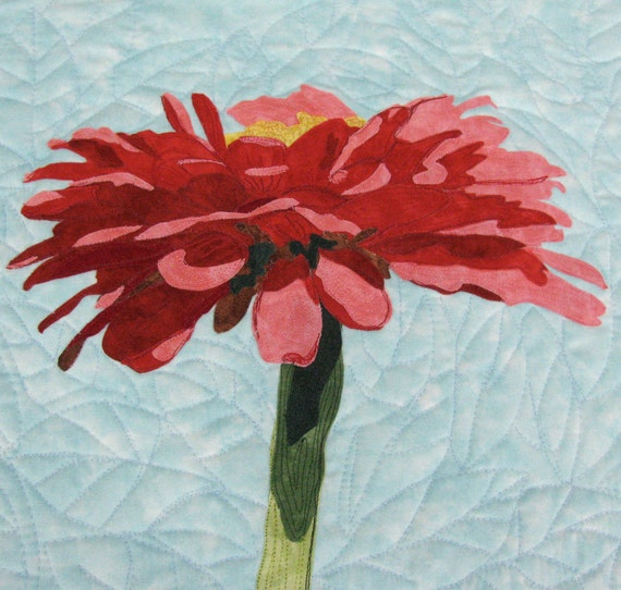 Contemporary Art Quilt Red Zinnia Flower