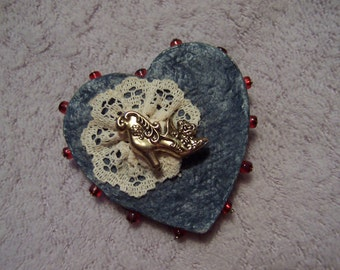 Victorian brooch, Denim and lace heart pin, Victorian boot heart brooch, handcrafted pin, upcycled from old jeans