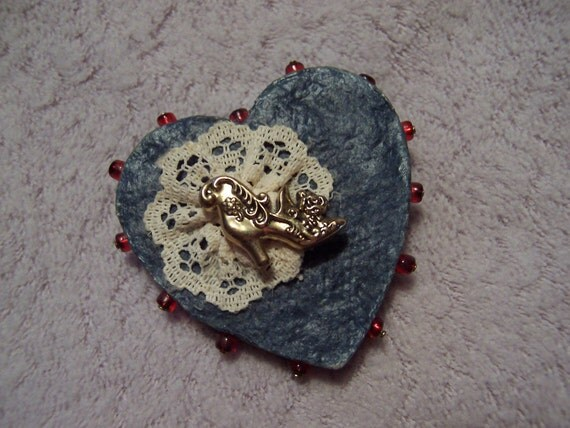 Victorian brooch, Denim and lace heart pin, Victorian boot heart brooch, handcrafted pin, upcycled from old jeans, denim blue