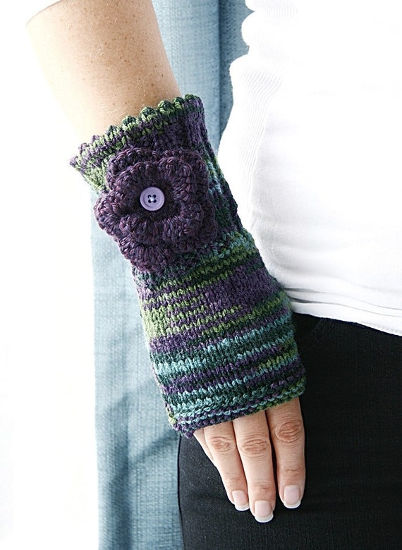 mixed green and purple fingerless gloves arm warmers made to. Black Bedroom Furniture Sets. Home Design Ideas