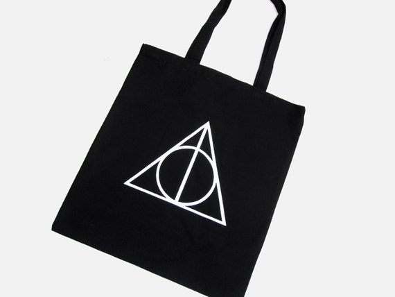 Deathly Hallows Tote Bag - Black 100% Cotton Hand Screen Printed - inspired by Harry Potter