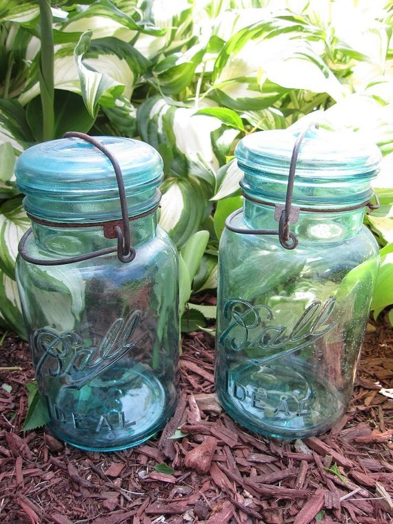 5 Vintage Ball Ideal Blue Glass-Top Quart Mason Canning Jars
