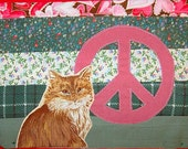 Long-haired Cat with Cranberry Peace Sign Flag