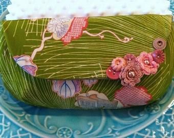 Vintage silk kimono clutch