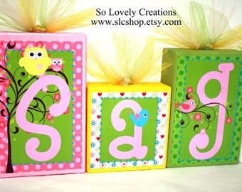 Sage Collection Personalized Blocks - Owls, Tree, Flowers - Pink, Green, Yellow