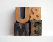 Vintage Wood Letterpress Type Valentines Boxed Set U & ME