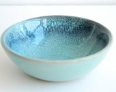 Blue drip glidden ceramic bowl