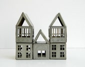 Set of 6 rustic vintage gray tin architectural building blocks