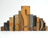 Vintage Wood Letterpress Type 15 piece set of Punctuation