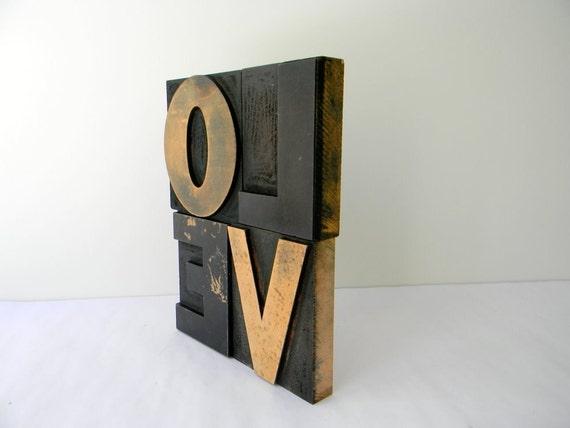 Big Bold Wood Type Love 4 inch