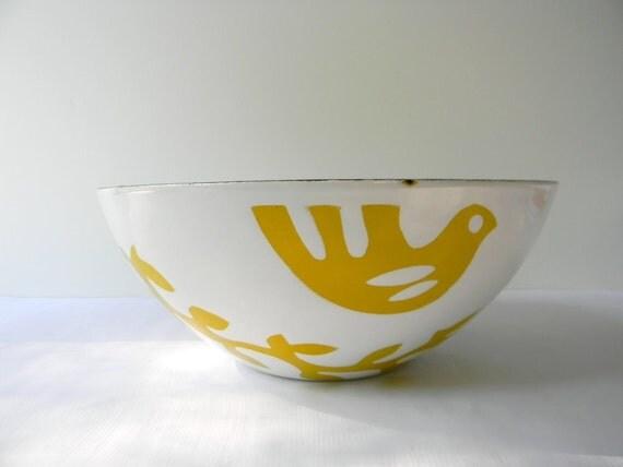 Danish Modern Enamel Dove Bowl