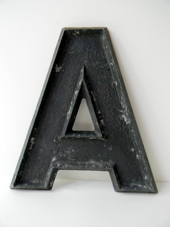 Big vintage painted metal letter a 10 inch for Raised metal letters