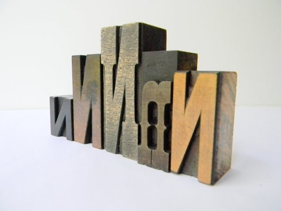 Vintage wood type 5 letter set N
