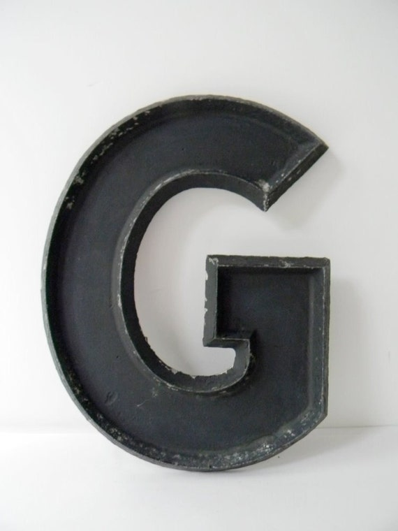 sale big vintage black metal letter g With metal letter g
