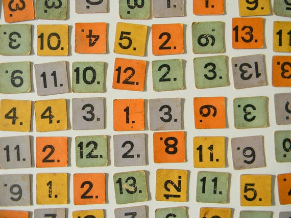1890s Game of Numerica Cardboard Number Tiles