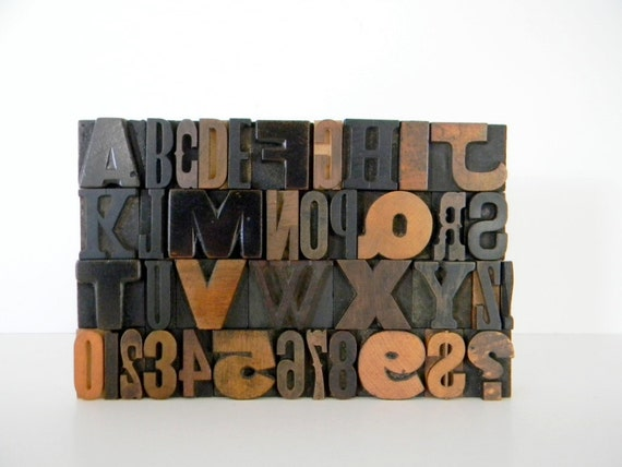 39 Piece Set of Vintage Wood Letterpress Type Full Alphabet A to Z Plus Numbers 0 - 9 and Punctuation