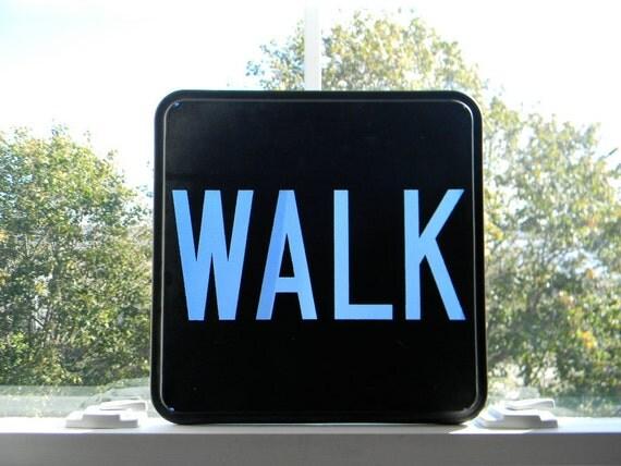 Vintage Glass WALK street traffic sign