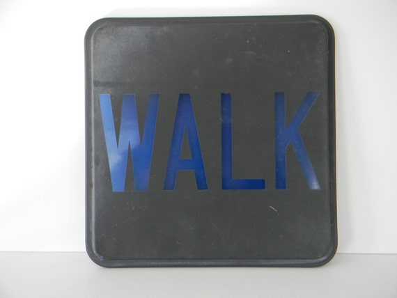 Vintage Glass WALK street traffic sign