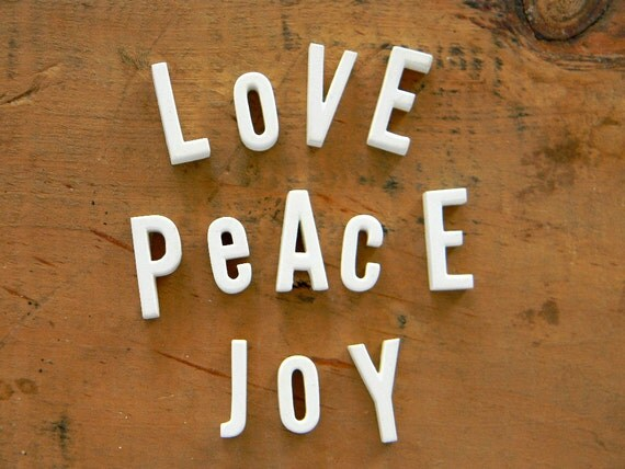 Peace Love Joy 12 Vintage White Porcelain Letters and gift box