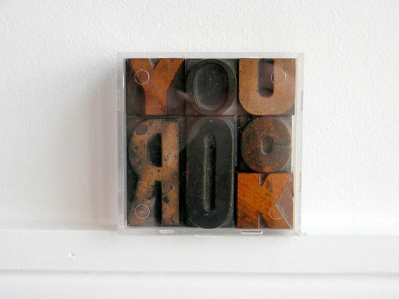 Vintage Wood Letterpress Type Valentines Boxed Set YOU ROCK