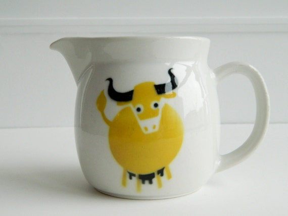 Arabia Finland mustard yellow bull pitcher