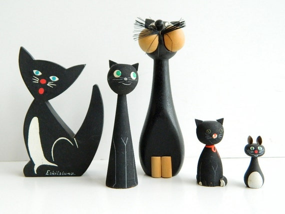 One Black Wooden Cat from Sweden Handpainted Souvenir