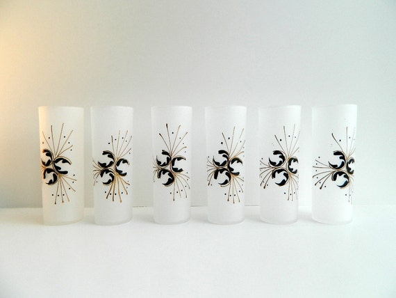 Retro frosted tom collins or iced tea glasses - set of 6