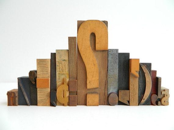 Vintage Wood Letterpress Type 15 piece set of Punctuation