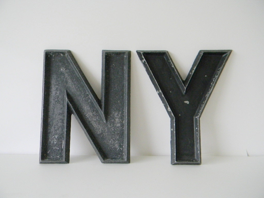 SALE: Big Metal Letter Signs NY by CIVILIZEDMODERN on Etsy