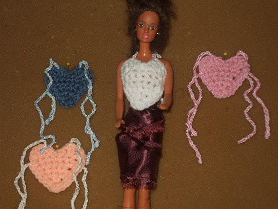 4 Barbie crocheted heart  tops