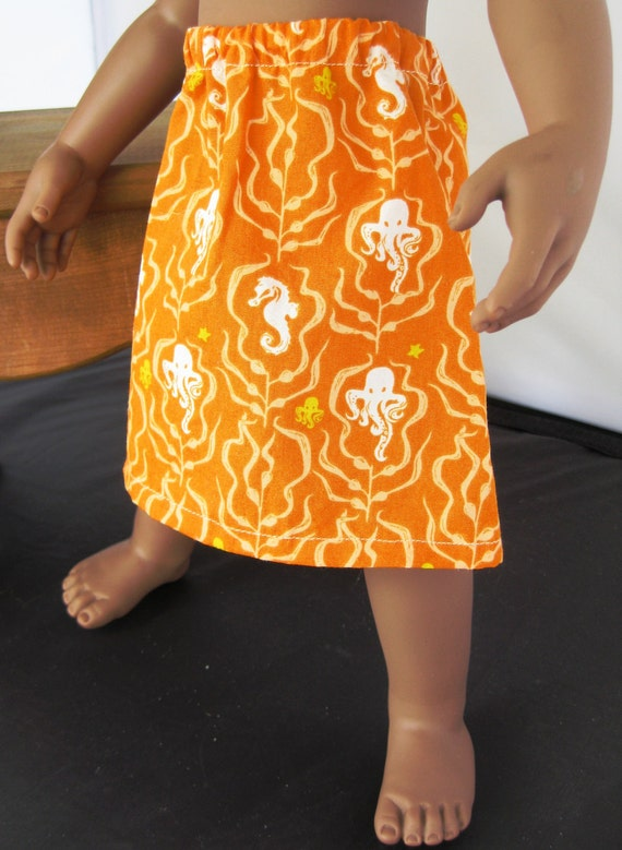 Long Orange Skirt with White Octupus Swimming About