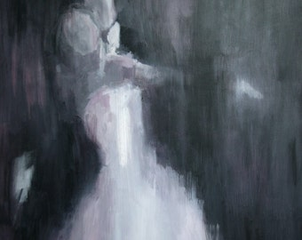 Custom Wedding Portrait Painting 24x30 Inches - shipped on stretcher bars, ready to hang