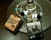 Vintage Paris Wine Charms (bead design 2) - Set of 4