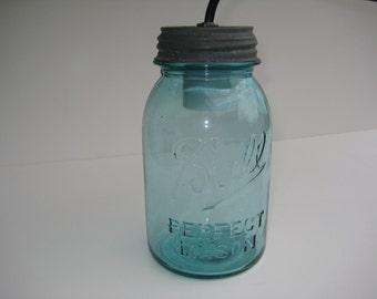 Blue Mason Jar Hanging Light