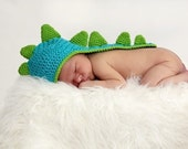 Newborn Baby Dinosaur Crochet Hat With Tail Photo Prop Custom Made to Order