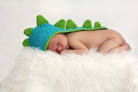 Crochet Pattern For Baby Dinosaur Hat : Newborn Baby Dinosaur Crochet Hat With Tail Photo Prop by ...