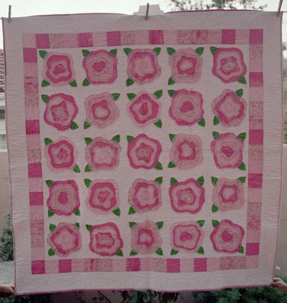 Pink and White French Roses Quilt