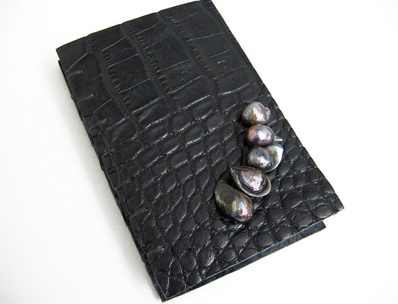 Handmade Mini Book- Handbound Black Alligator Journal