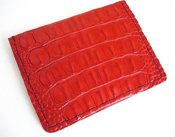 Red Alligator Card Wallet Handmade Case