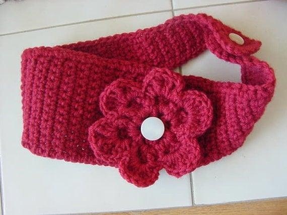 Crochet Headband Earwarmer with Flower and Button Closure